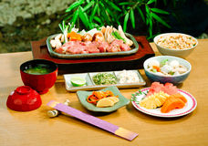 Japanese beef steak set menu stock photography