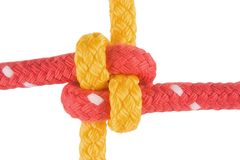Japanese bend. Tied from red and yellow line - closeup Stock Photo