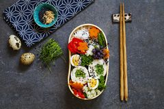 Japanese bento lunch. Japanese bento box with chicken stuffed with asparagus, rice, vegetables and quail eggs stock photos