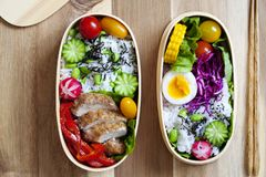 Japanese bento box with chicken, vegetables and rice. Japanese bento lunch box with chicken, cucumber, radish, red cabbage, pepper and rice stock images