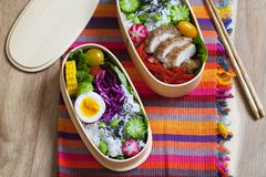 Japanese bento box with chicken, vegetables and rice. Japanese bento lunch box with chicken, cucumber, radish, red cabbage, pepper and rice stock photos