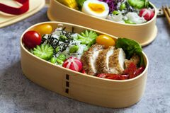 Japanese bento box with chicken, vegetables and rice. Japanese bento lunch box with chicken, cucumber, radish, red cabbage, pepper and rice royalty free stock photography