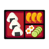 Japanese bento box. Traditional Japanese bento box lunch with rice onigiri and tempura shrimp, cucumber and egg. Vector illustration Stock Images