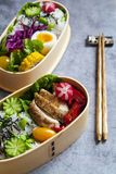 Japanese bento box with chicken, vegetables and rice. Japanese bento lunch box with chicken, cucumber, radish, red cabbage, pepper and rice stock photo