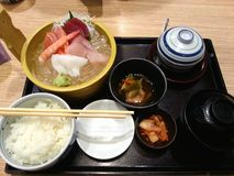 Japanese bento set, Sashimi mixed, miso soup and the Japanese rice Royalty Free Stock Photography