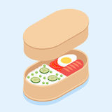 Japanese bento. Japanese traditional lunch box bento with rice, sausage, tomatoes, egg and cucumbers Stock Images