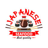 Japanese best quality seafood restaurant emblem. Oriental cuisine sushi bar design icon with vector elements of salmon rolls, soy sauce, bamboo chopsticks, red Stock Image