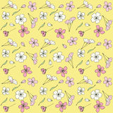 Japanese blossom sakura. Seamless pattern with Japanese blossom sakura.Vector floral pattern, pink sakura outline art for greeting card, package design cosmetic Stock Photography