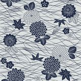 Japanese blue white fan, iris and bellflower patternJapanese mums maple leaf grass flower pattern Stock Image