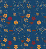 Japanese blue seamless pattern. Traditional Japanese blue seamless pattern wallpaper with cherry blossom and dragonflies Stock Images