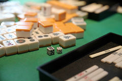 Japanese board game. Detail of dice and figures of a Japanese game Stock Images