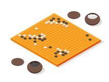 Japanese Board Game Go Concept 3d Isometric View. Vector Stock Photography