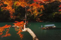 A Japanese boatsman in a ring of fire in Kyoto, Japan. Stock Images