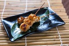 Japanese boneless chicken Kushiyaki, Skewered and Grilled Meat Royalty Free Stock Image