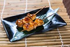 Japanese boneless chicken Kushiyaki, Skewered and Grilled Meat Stock Images