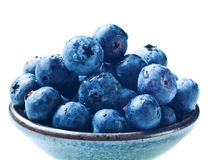 Japanese bowl with blueberries isolated Royalty Free Stock Images