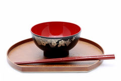 Japanese bowl and chopsticks Stock Photo