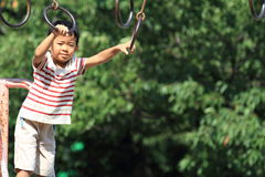 Japanese boy in athletic field Royalty Free Stock Photography