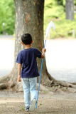 Japanese boy collecting insect stock photography