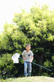 Japanese boy collecting insect royalty free stock photography