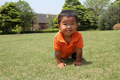 Japanese boy crawling on the grass Royalty Free Stock Photo