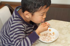 Japanese boy eating cereal Royalty Free Stock Image
