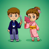 Japanese boy and girl Royalty Free Stock Photography