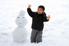 Japanese boy having snowball fight and snowman Stock Images