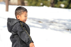 Japanese boy having snowball fight Stock Photography