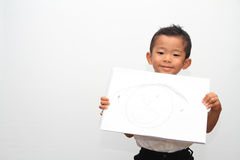 Japanese boy and his father's portrait Royalty Free Stock Photos