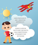 Japanese boy. Kid playing football. Vector Paper art of cloud and plane flying in the sky. Template advertising brochure with spac Royalty Free Stock Photos