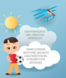 Japanese boy. Kid playing football. Vector Paper art of cloud and plane flying in the sky. Template advertising brochure with spac Royalty Free Stock Images