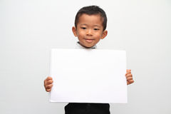 Japanese boy and a message board Stock Photo
