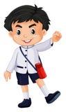 Japanese boy in school uniform. Illustration Royalty Free Stock Image