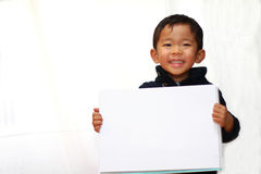 Japanese boy with sketch book Stock Photo