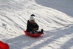 Japanese boy on the sled Stock Image