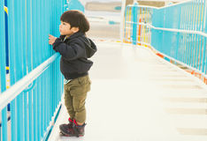 Japanese Boy standing on the fence Stock Images