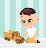 Japanese boy with toy car. Boy playing car. Vector illustration eps 10 isolated on white background. Flat cartoon style. Stock Image