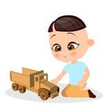 Japanese boy with toy car. Boy playing car. Vector illustration eps 10 isolated on white background. Flat cartoon style. Royalty Free Stock Image
