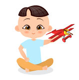 Japanese boy with toy plane. Boy playing with airplane. Vector illustration eps 10 isolated on white background. Flat cartoon styl Royalty Free Stock Photo