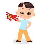 Japanese boy with toy plane. Boy playing with airplane. Vector illustration eps 10 isolated on white background. Flat cartoon styl Stock Photo