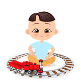 Japanese boy with toy train. Boy playing with train. Vector illustration eps 10 isolated on white background. Flat cartoon style. Japanese boy with toy train stock illustration