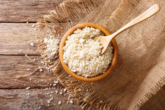 Japanese bread crumbs Panko in a bowl on the table. Horizontal t Stock Image