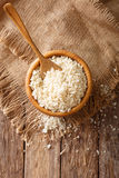 Japanese bread crumbs Panko in a bowl on the table. vertical top Stock Image