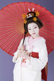 Japanese bride. In traditional white kimono Stock Images