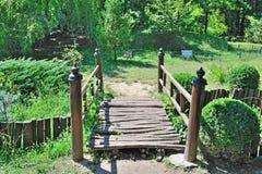 Japanese Bridge. Wooden Bridge In A Japanese Garden Stock Photo