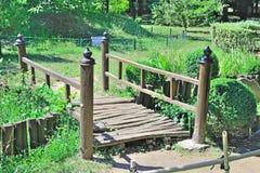 Japanese Bridge. Wooden Bridge In A Japanese Garden Stock Photos