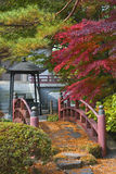 Japanese bridge. Beautiful aspect from a Japanese garden with a traditional bridge.Location: Rinoji Temple garden,Sendai,Japan Stock Image