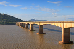 Japanese bridge across the Mekong River in Laos Royalty Free Stock Photography