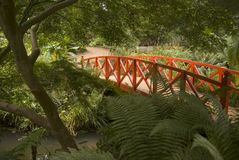 Japanese bridge and gardens Stock Photo